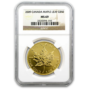 1 oz Gold Canadian Maple Leaf PCGS/NGC - Random Year