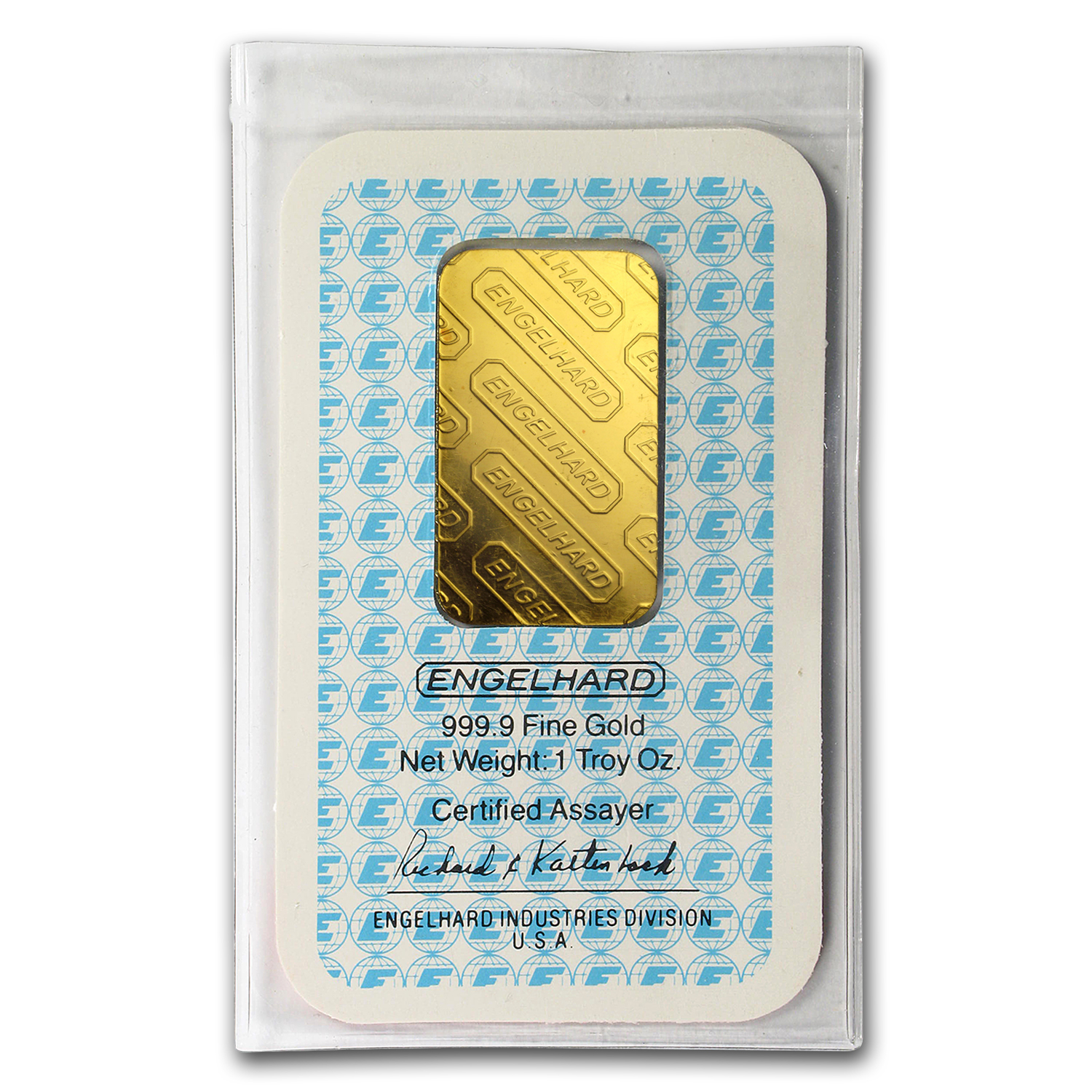 1 oz Gold Bars - Engelhard ('E' logo, in Assay Card)