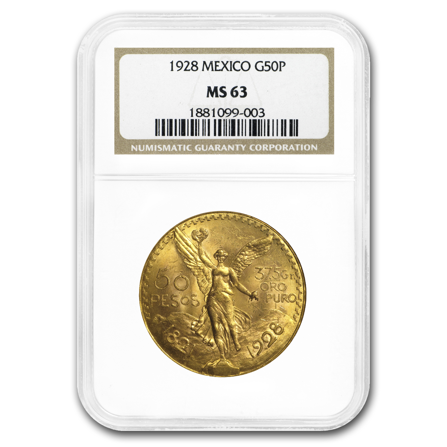 1928 Mexico Gold 50 Pesos MS-63 NGC