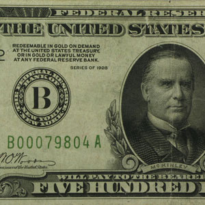 1928 (B-New York) $500 FRN VF (SN#B00079804A)