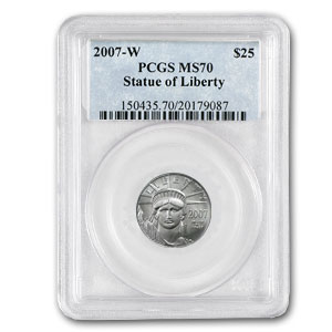 2007-W 1/4 oz Burnished Platinum American Eagle MS-70 PCGS