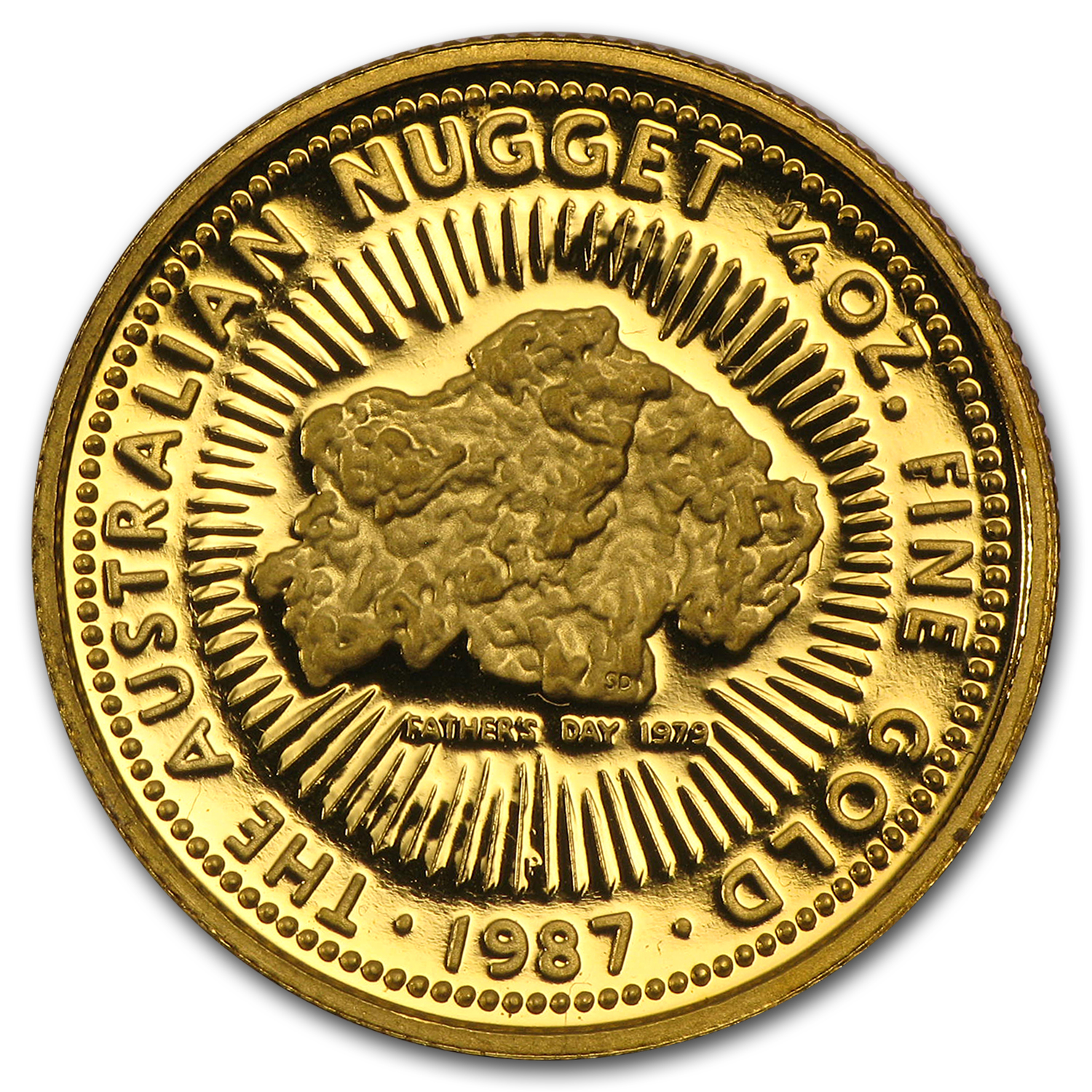 1987 1/4 oz Australian Proof Gold Nugget