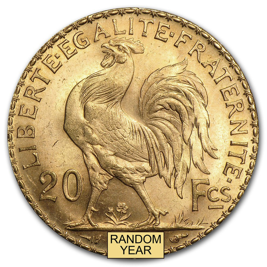 1899-1914 France Gold 20 Francs Rooster BU