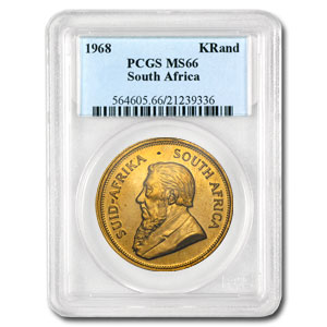 1968 1 oz Gold South African Krugerrand PCGS MS66 Registry Set