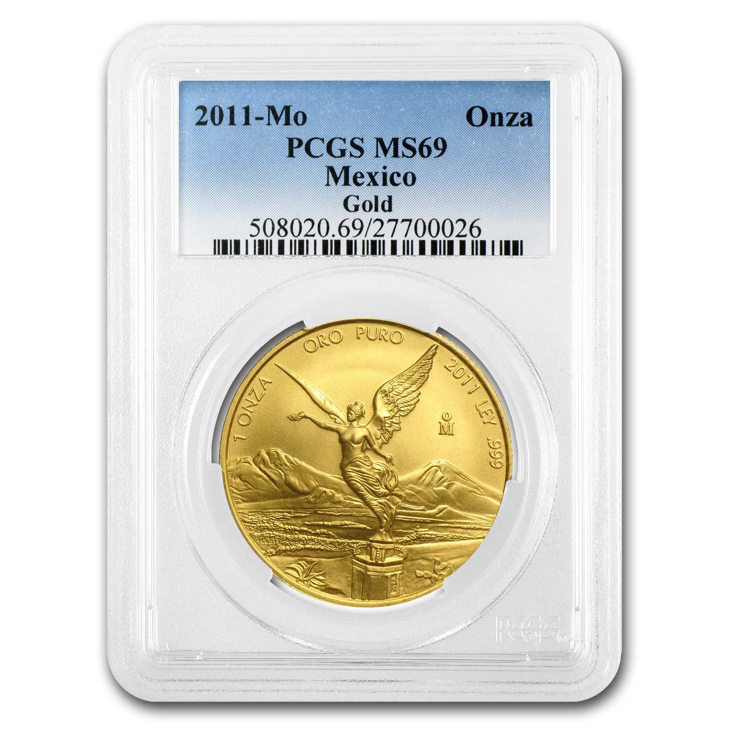 2011 1 oz Gold Mexican Libertad MS-69 PCGS