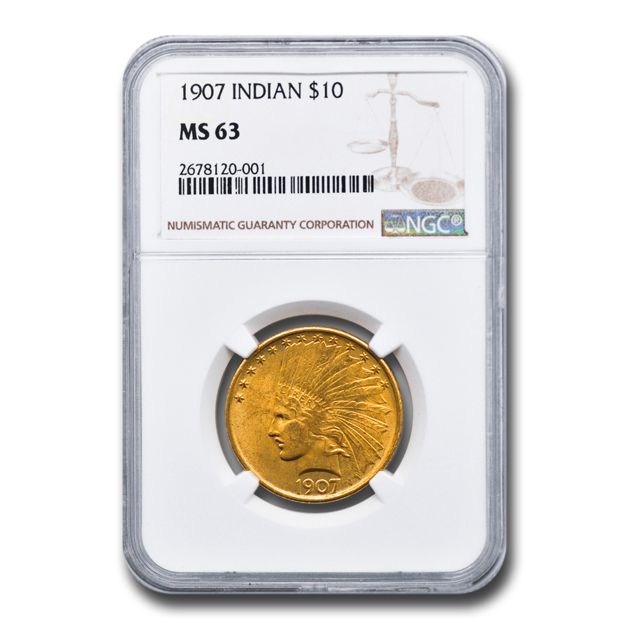 1907 $10 Indian Gold Eagle No Motto MS-63 NGC