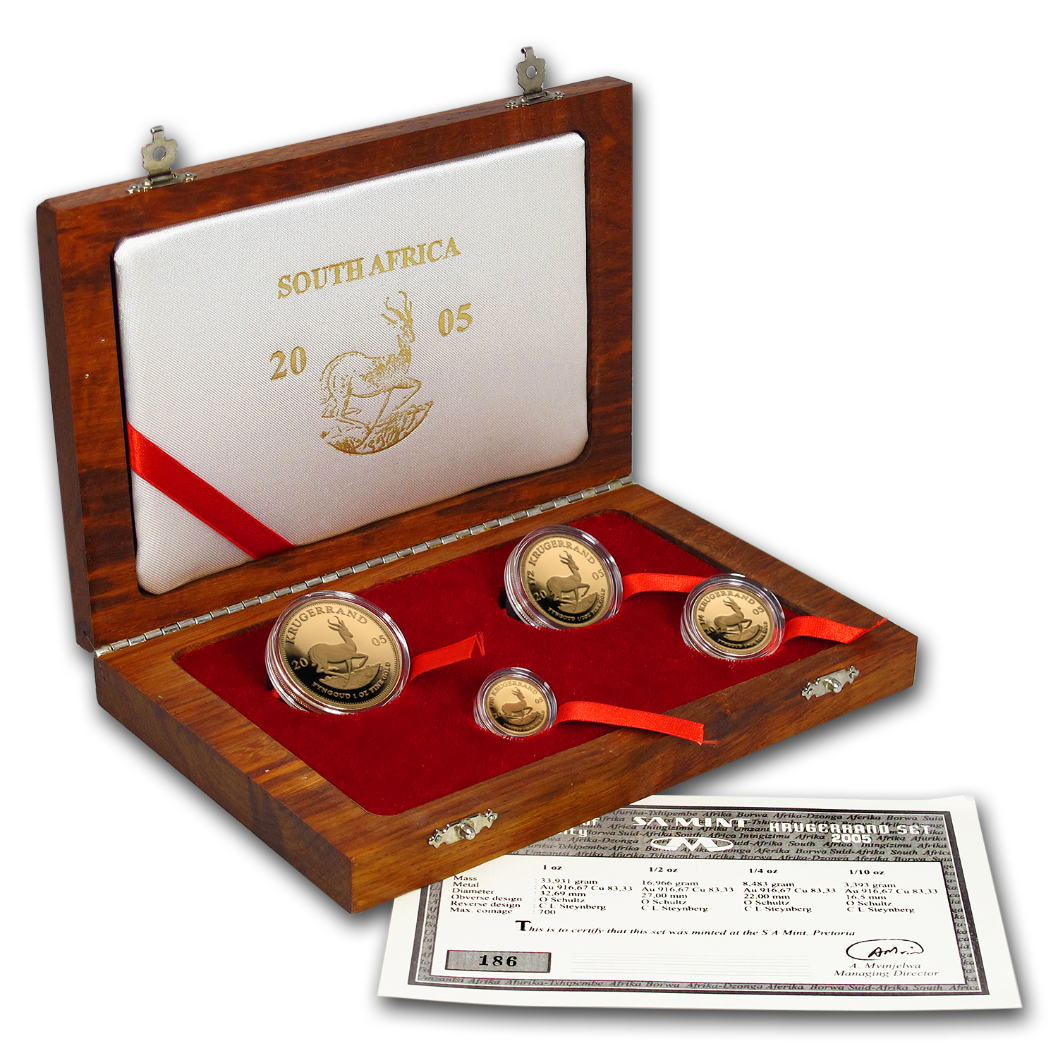 2005 South Africa 4-Coin Gold Krugerrand Proof Set