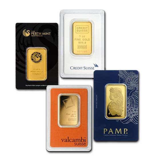1 oz Gold Bars - Brand Name (With Assay Card)