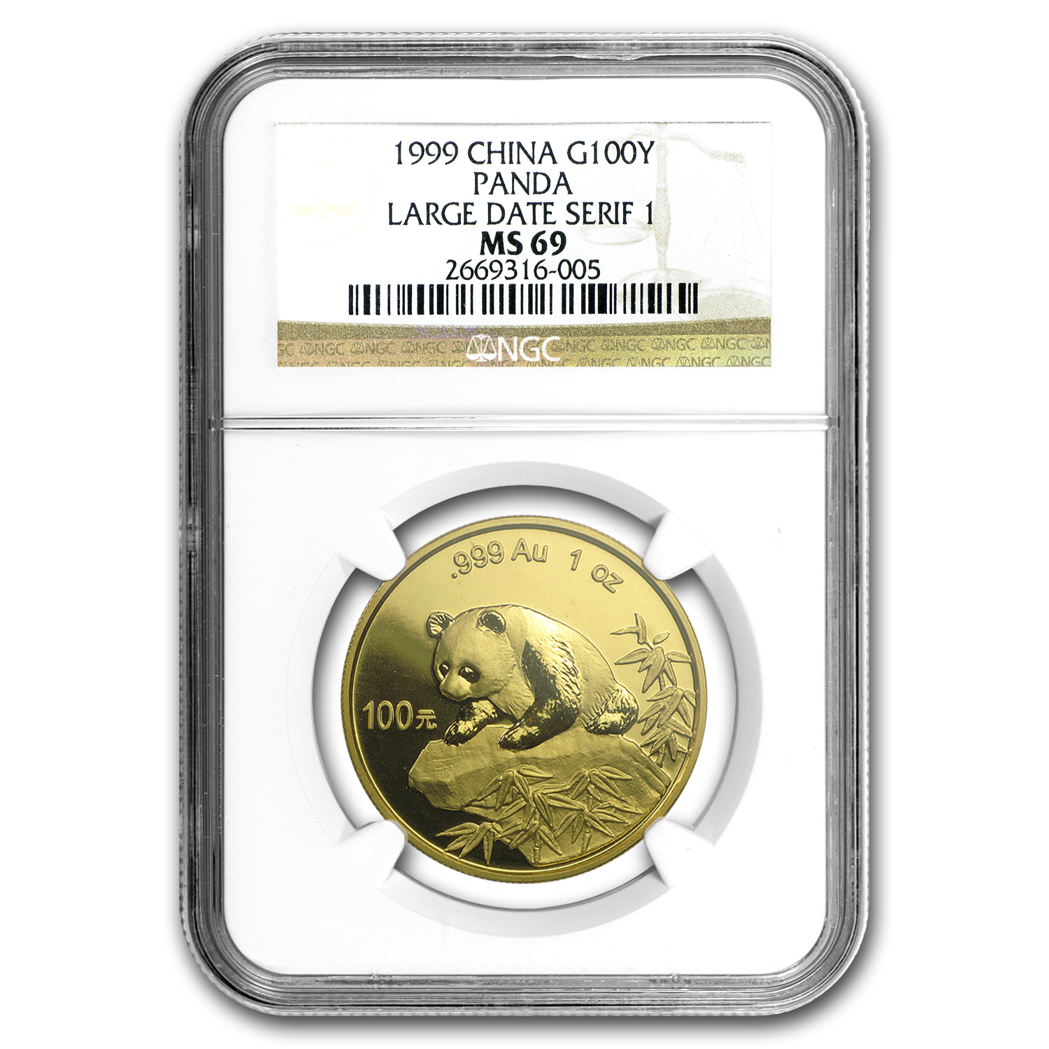 1999 China 1 oz Gold Panda Large Date/Serif 1 MS-69 NGC