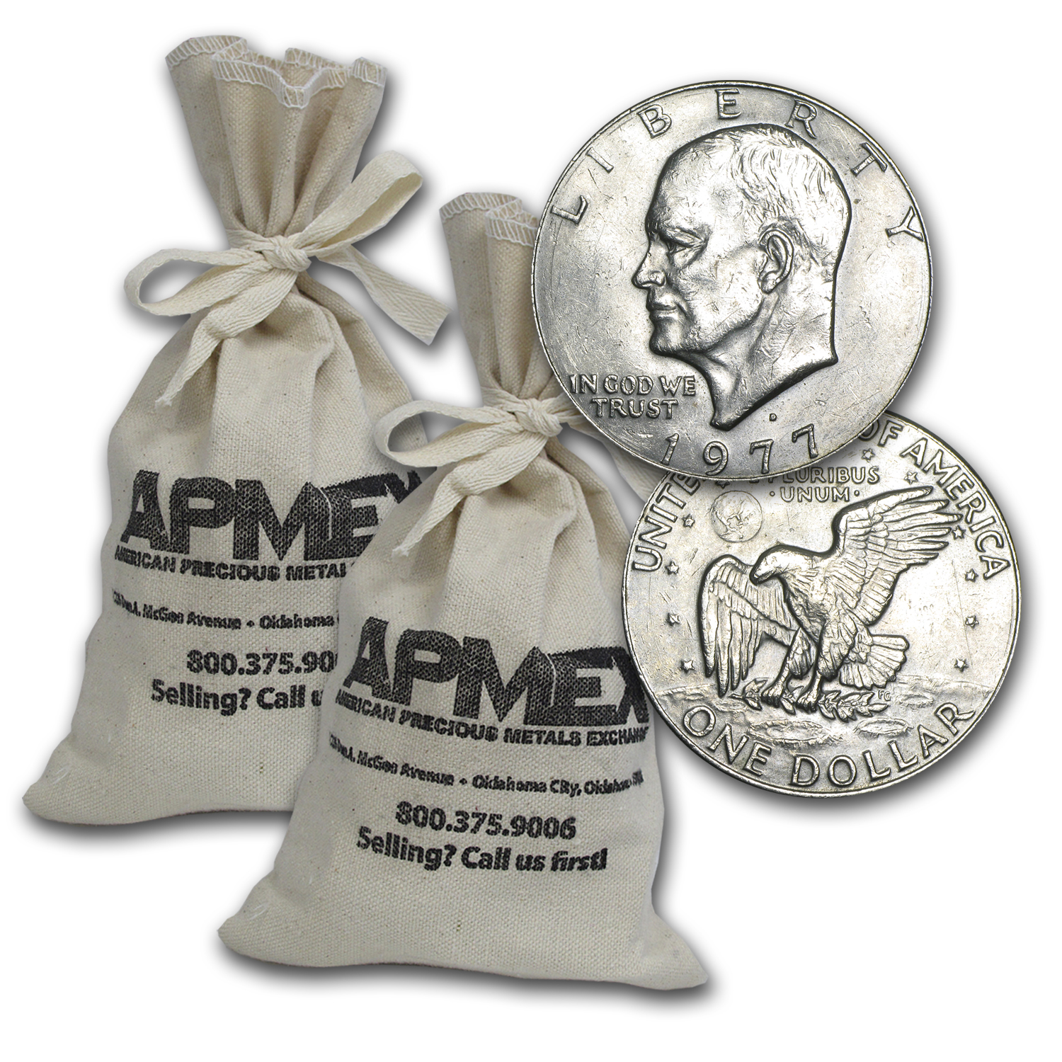 1971-1978 Clad Eisenhower Dollars $1000 Face-Value Bags XF-AU