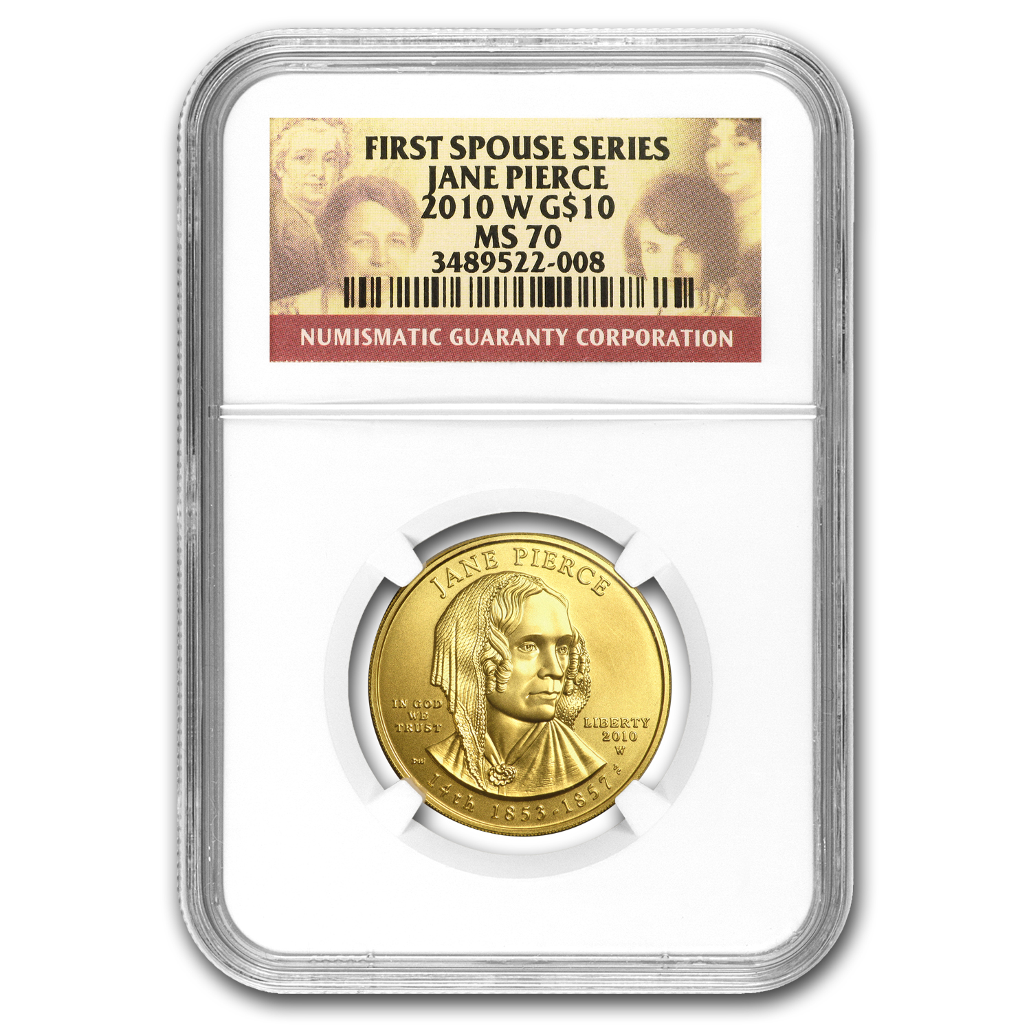 2010-W 1/2 oz Gold Jane Pierce MS-70 NGC