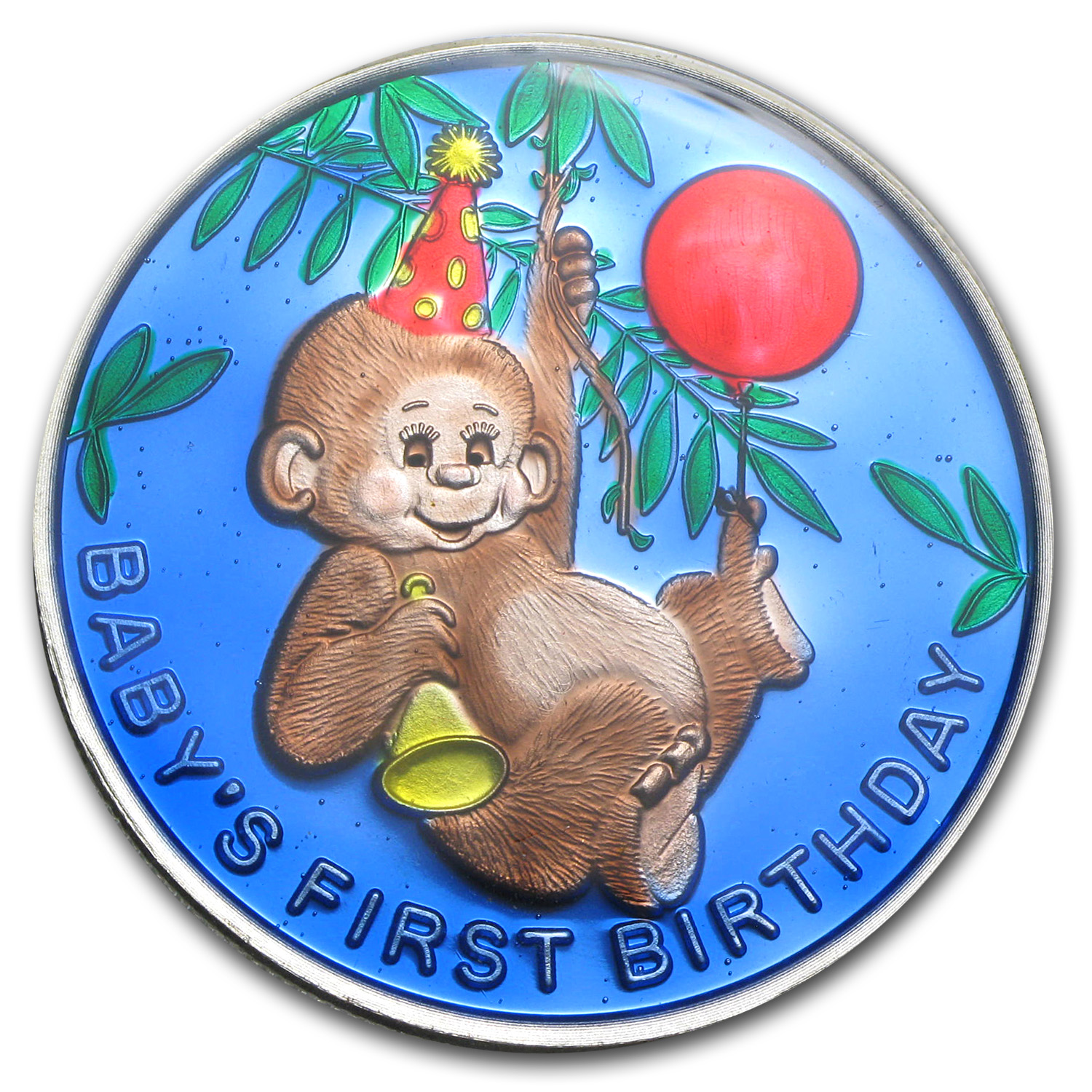 1 oz Silver Round - Baby's First Birthday (Enameled, w/Box & Cap)