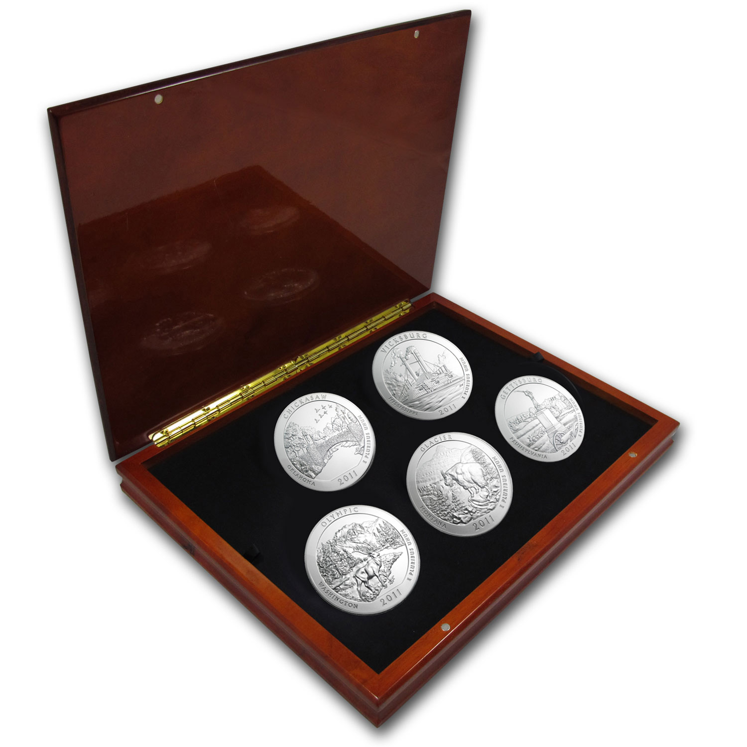 2011 5-Coin 5 oz Silver ATB Set (Elegant Display Box)