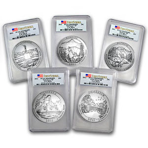 2011 5 oz Silver ATB 5-Coin Set BU PCGS (First Strike)