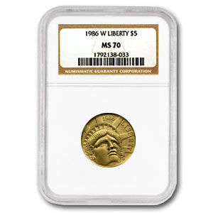 US Mint $5 Gold Commem MS & PF-70 NGC or PCGS