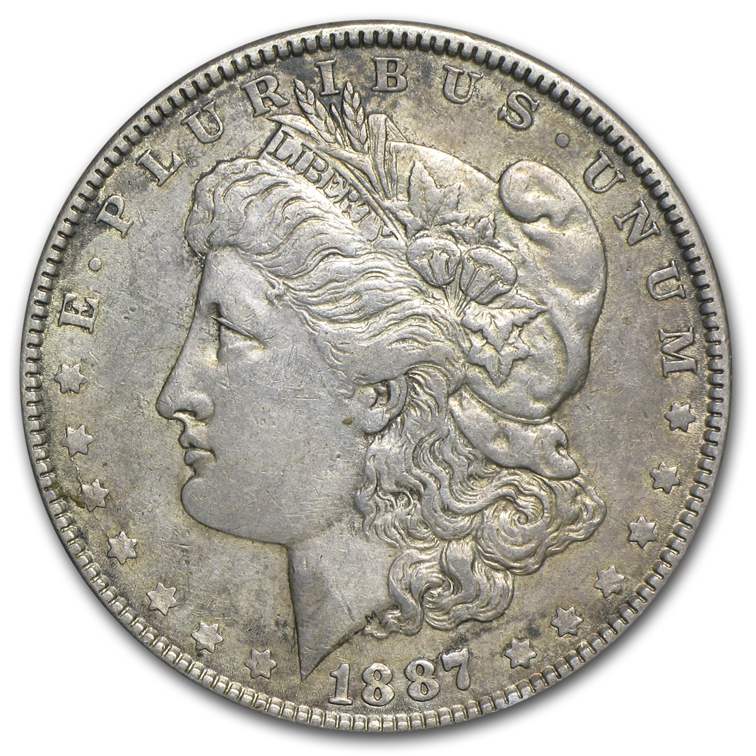 1887 Morgan Dollar AU Details (VAM-1B, Partial E Rev, Cleaned)