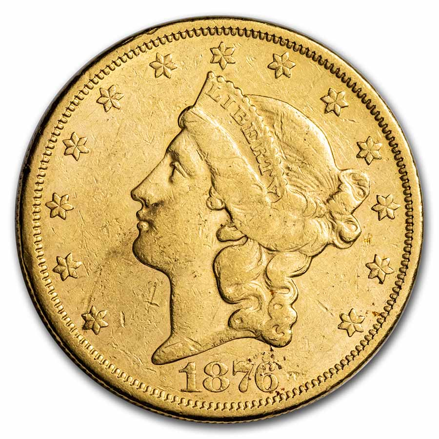 1876-CC $20 Liberty Gold Double Eagle Extra Fine