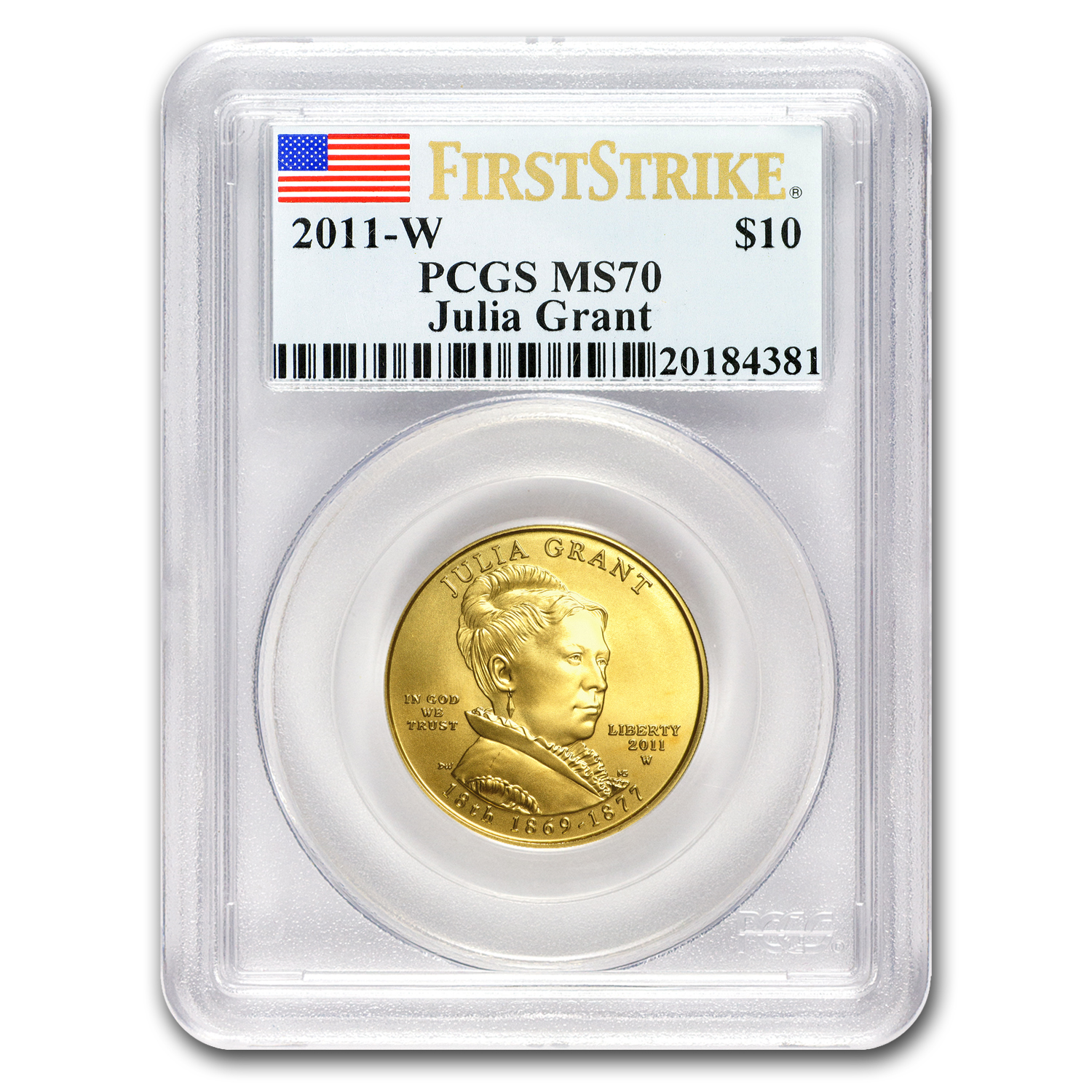 2011-W 1/2 oz Gold Julia Grant MS-70 PCGS (First Strike)