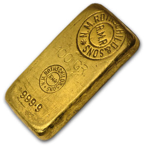 100 gram Gold Bar - Engelhard (Rothschild)