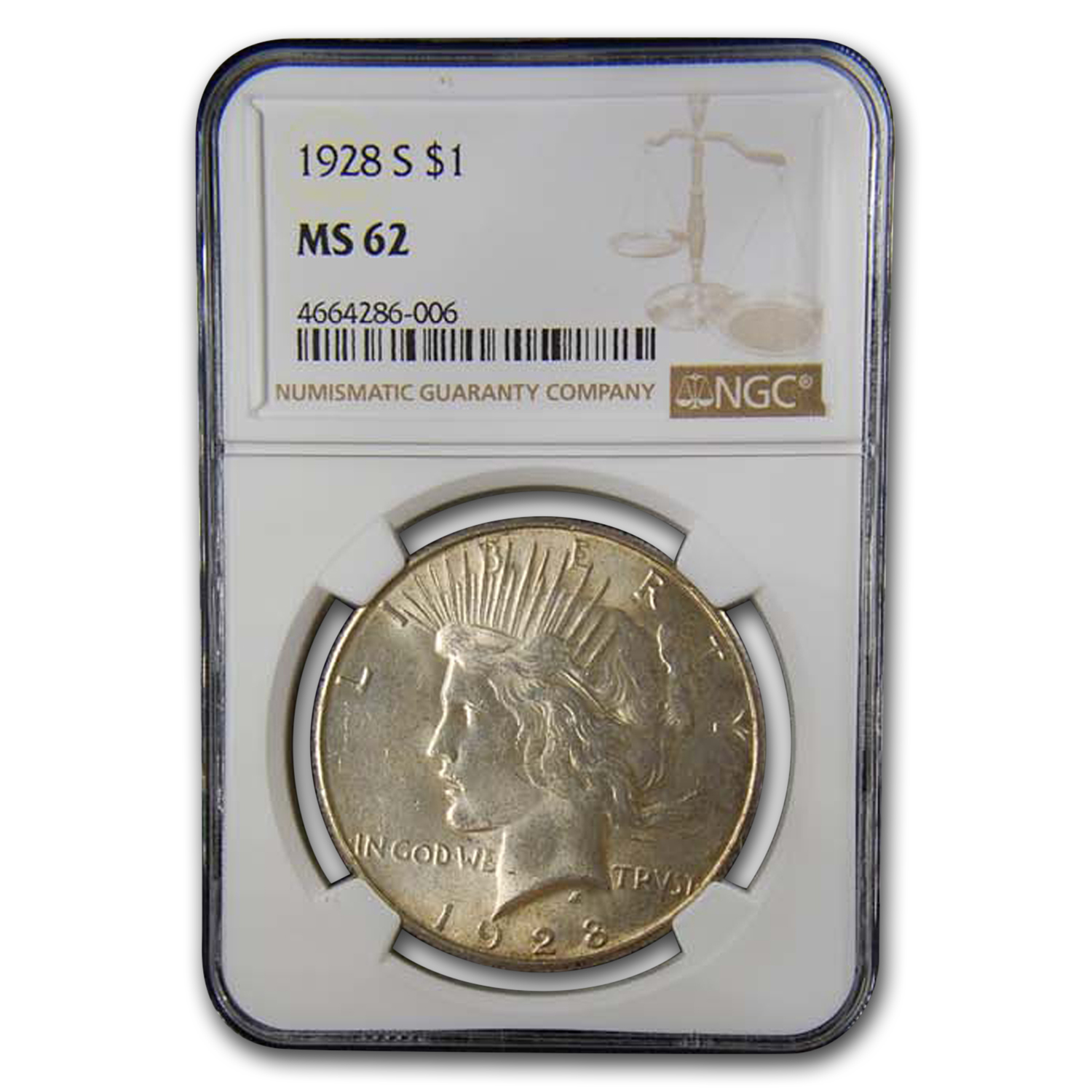 1928-S Peace Dollar MS-62 NGC