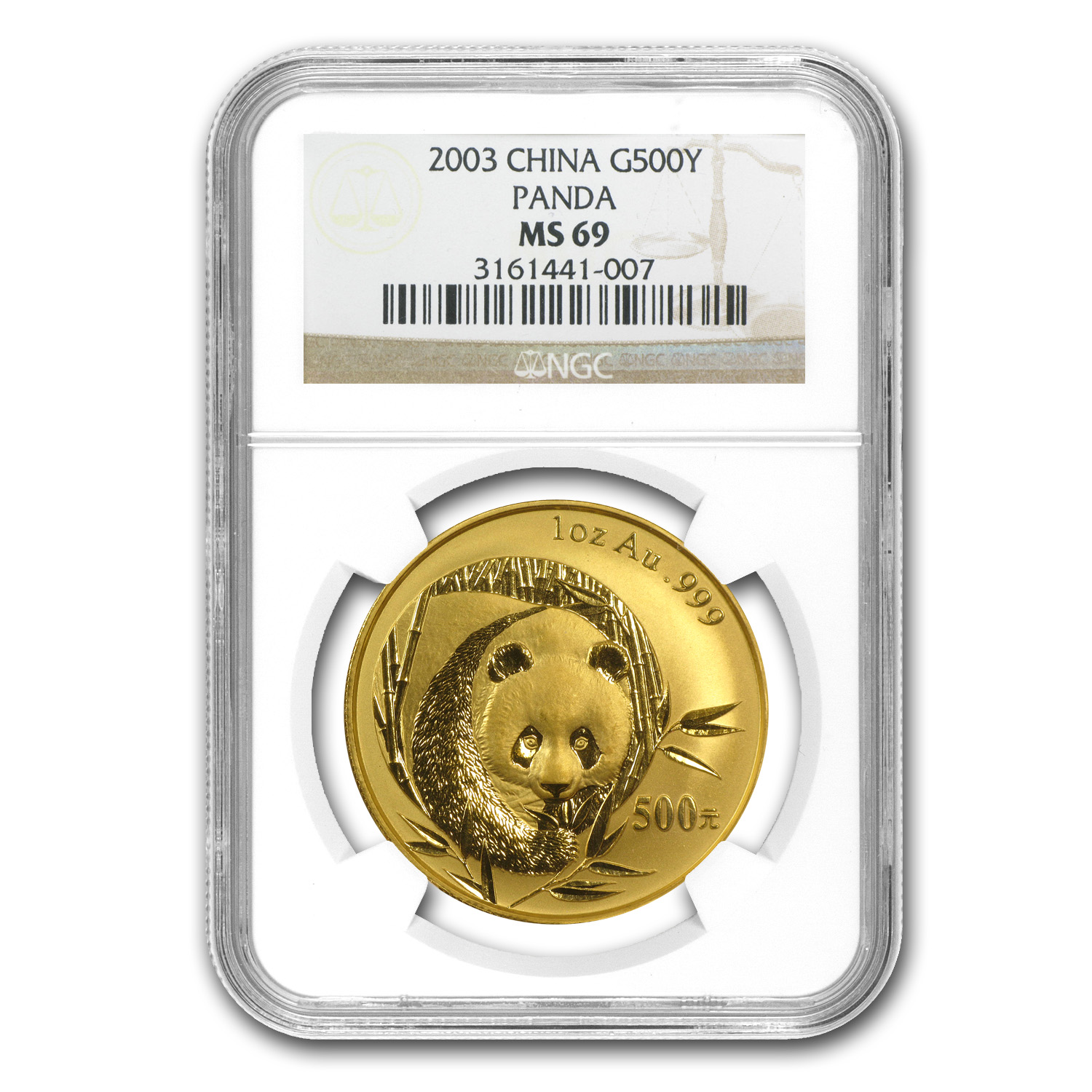 2003 China 1 oz Gold Panda MS-69 NGC