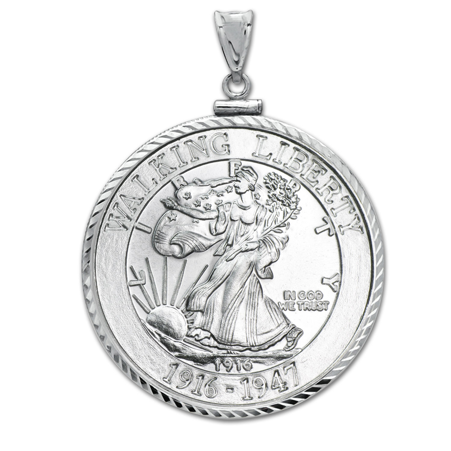 1 oz Silver Walking Liberty Rnd Pendant (Diamond-ScrewTop Bezel)