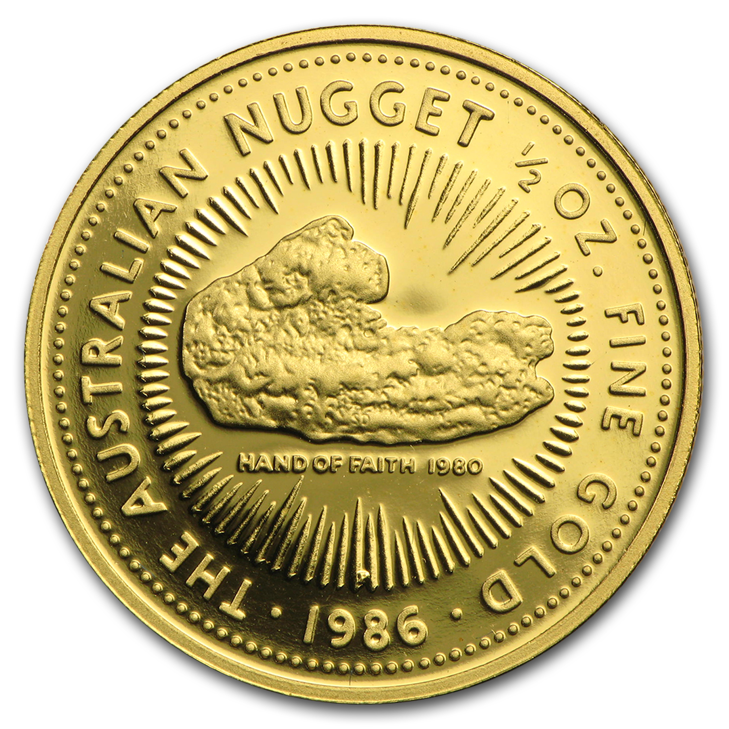 1986 Australia 1/2 oz Proof Gold Nugget