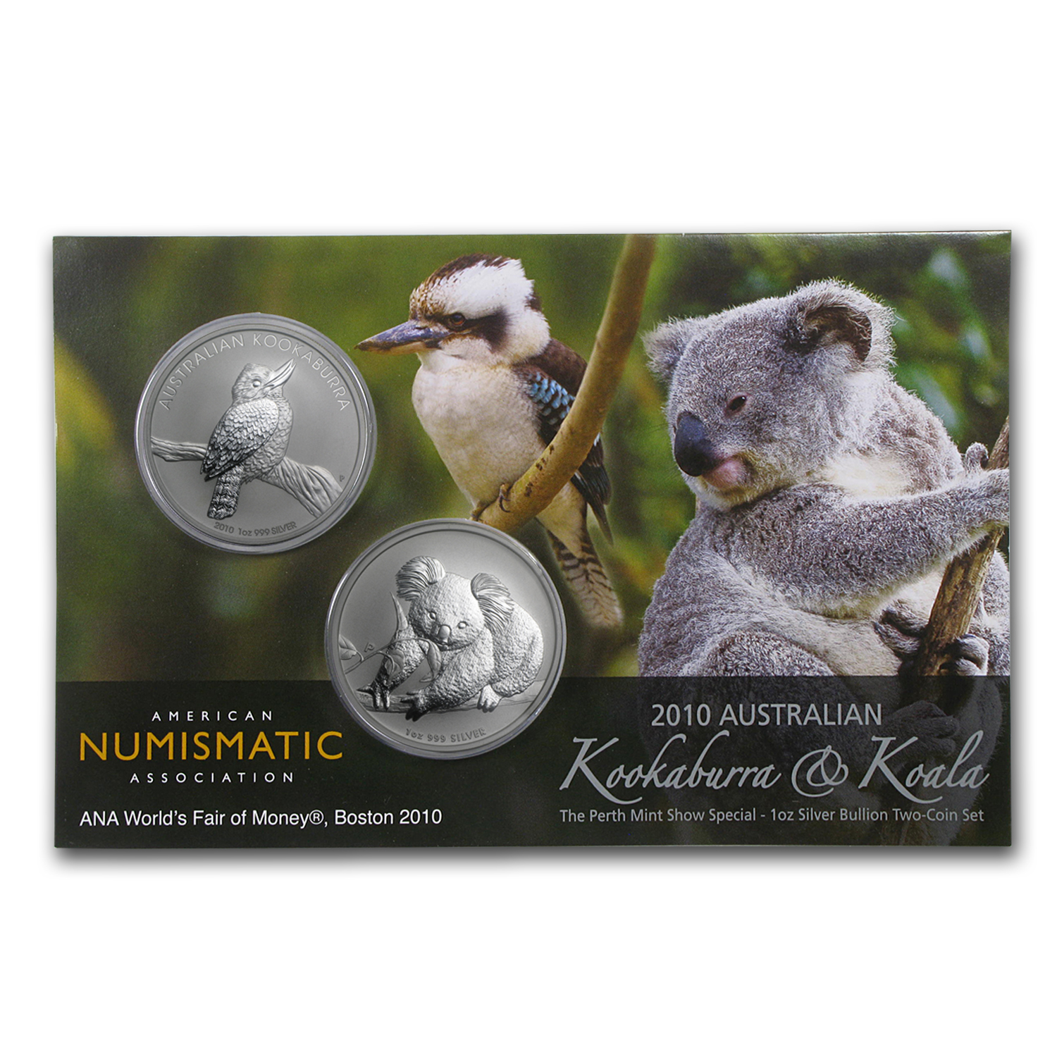 2010 2-Coin 1 oz Kookaburra & Koala ANA Boston Money Fair BU