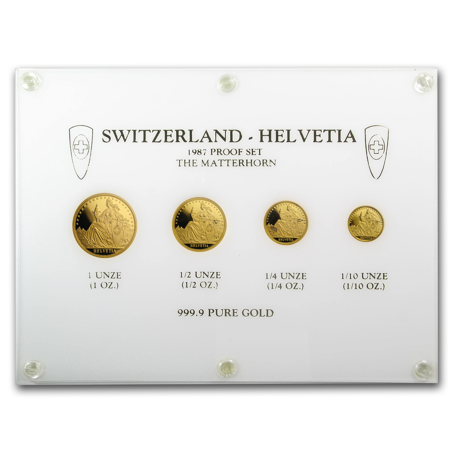 1987 Switzerland 4-Coin Gold Proof Set (1.85 oz)
