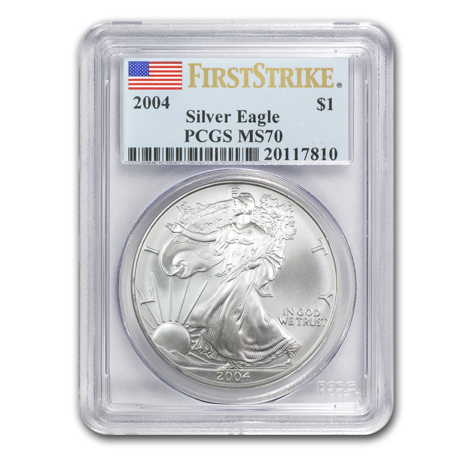 2004 Silver American Eagle MS-70 PCGS (First Strike)