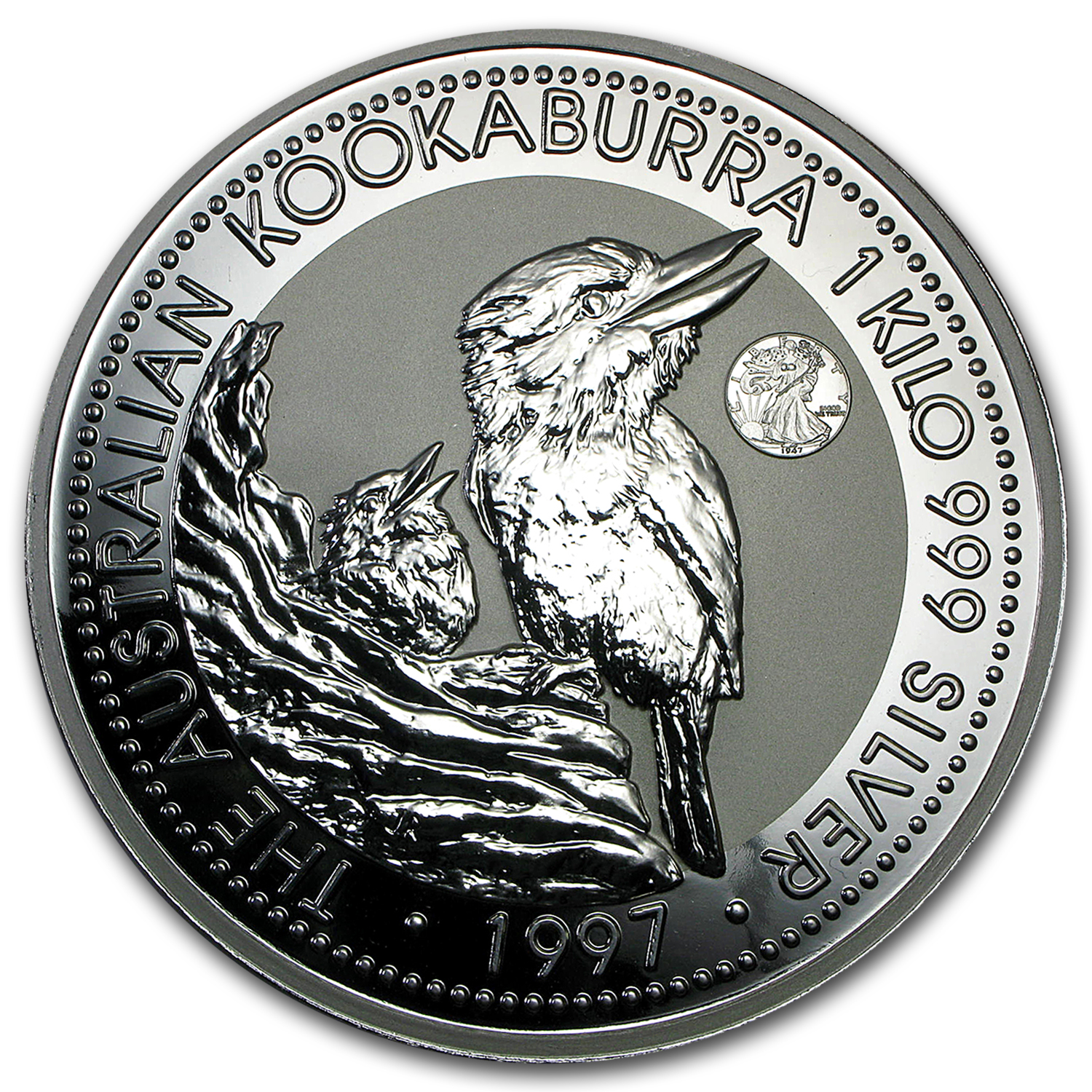 1997 1 Kilo Silver Kookaburra - Walking Liberty Privy (w/Box)