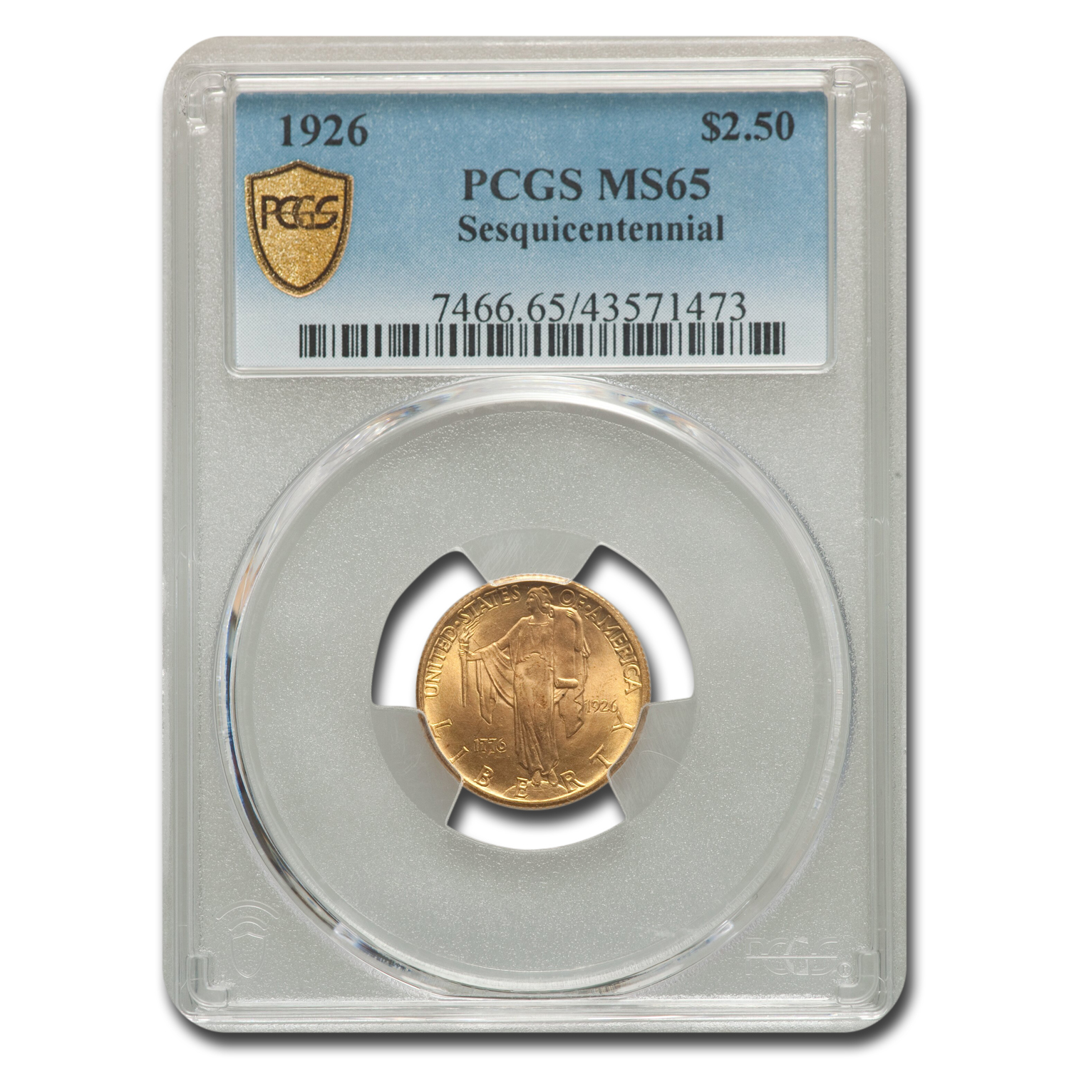 1926 Gold $2.50 America Sesquicentennial MS-65 PCGS