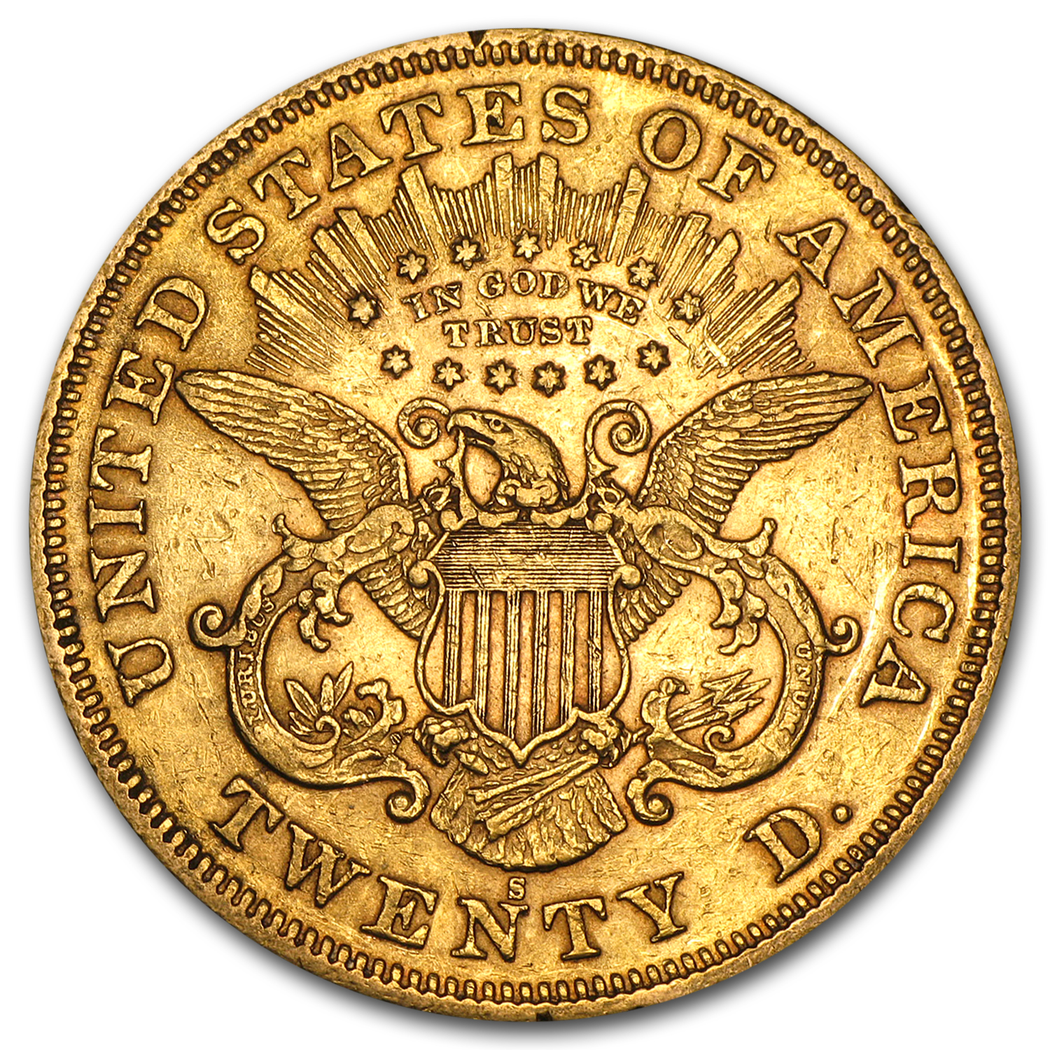 1866-1876 $20 Liberty Gold Double Eagle Type 2 XF