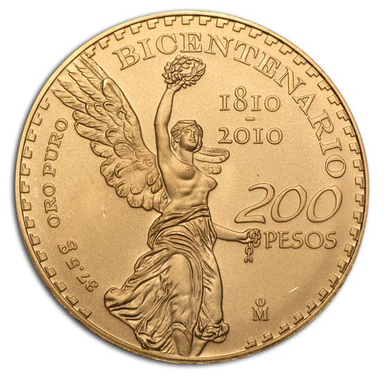 2010 Mexico Mexico Gold 200 Pesos Bicentenary Commem BU