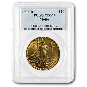1908-D $20 St. Gaudens Gold - With Motto - MS-63+ PCGS