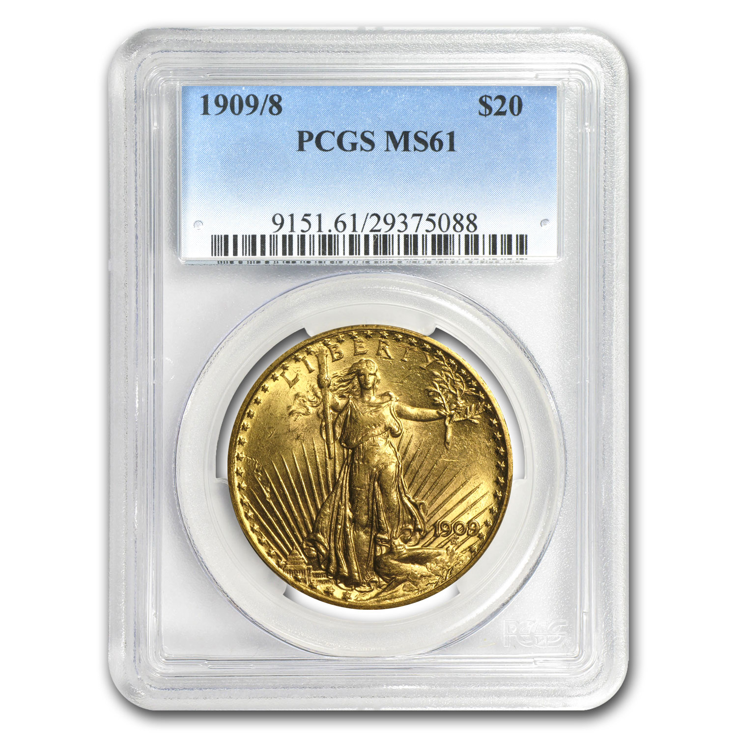 1909/8 $20 St. Gaudens Gold Double Eagle Overdate MS-61 PCGS