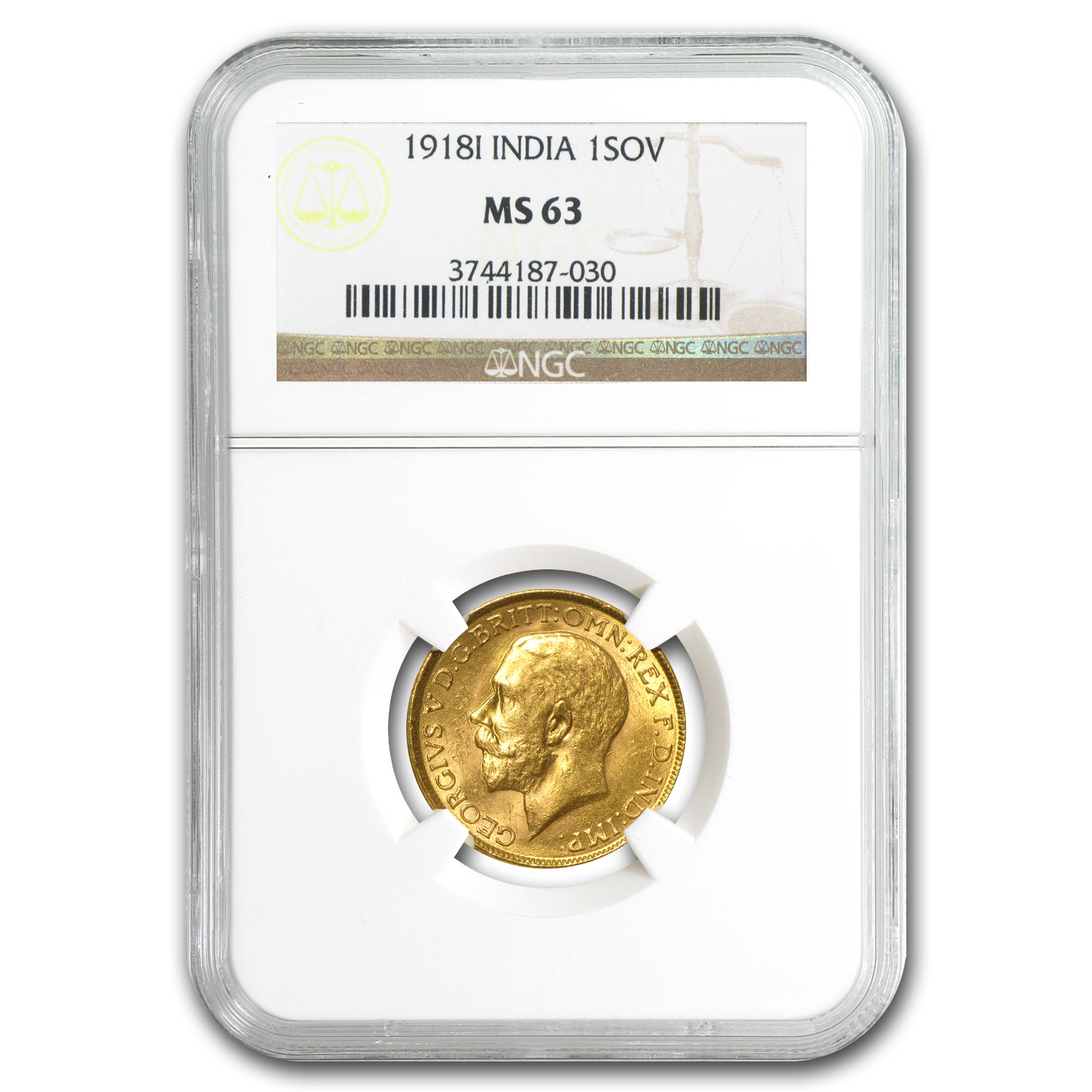 1918 India Gold Sovereign George V MS-63 PCGS/NGC