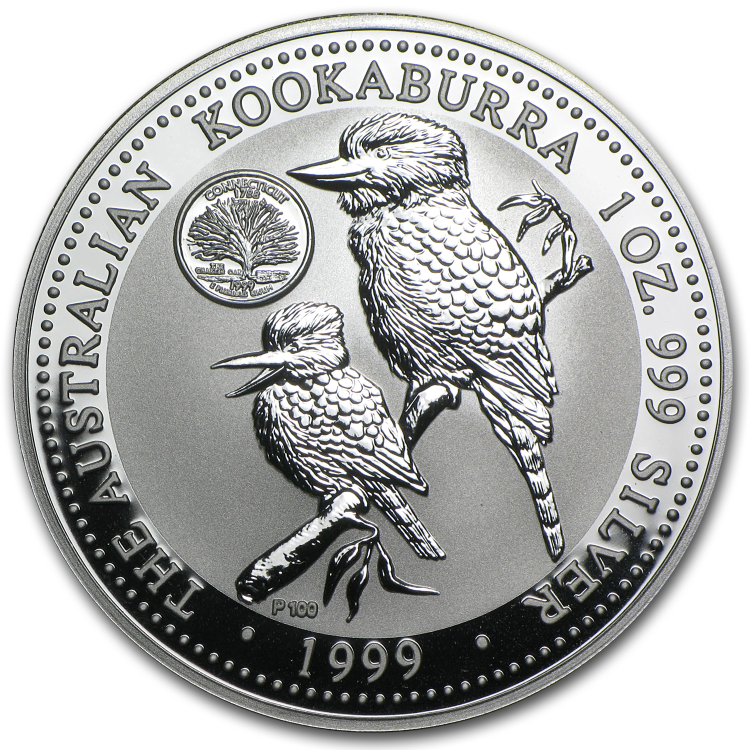 1999 1 oz Silver Kookaburra BU (Connecticut Quarter Privy)