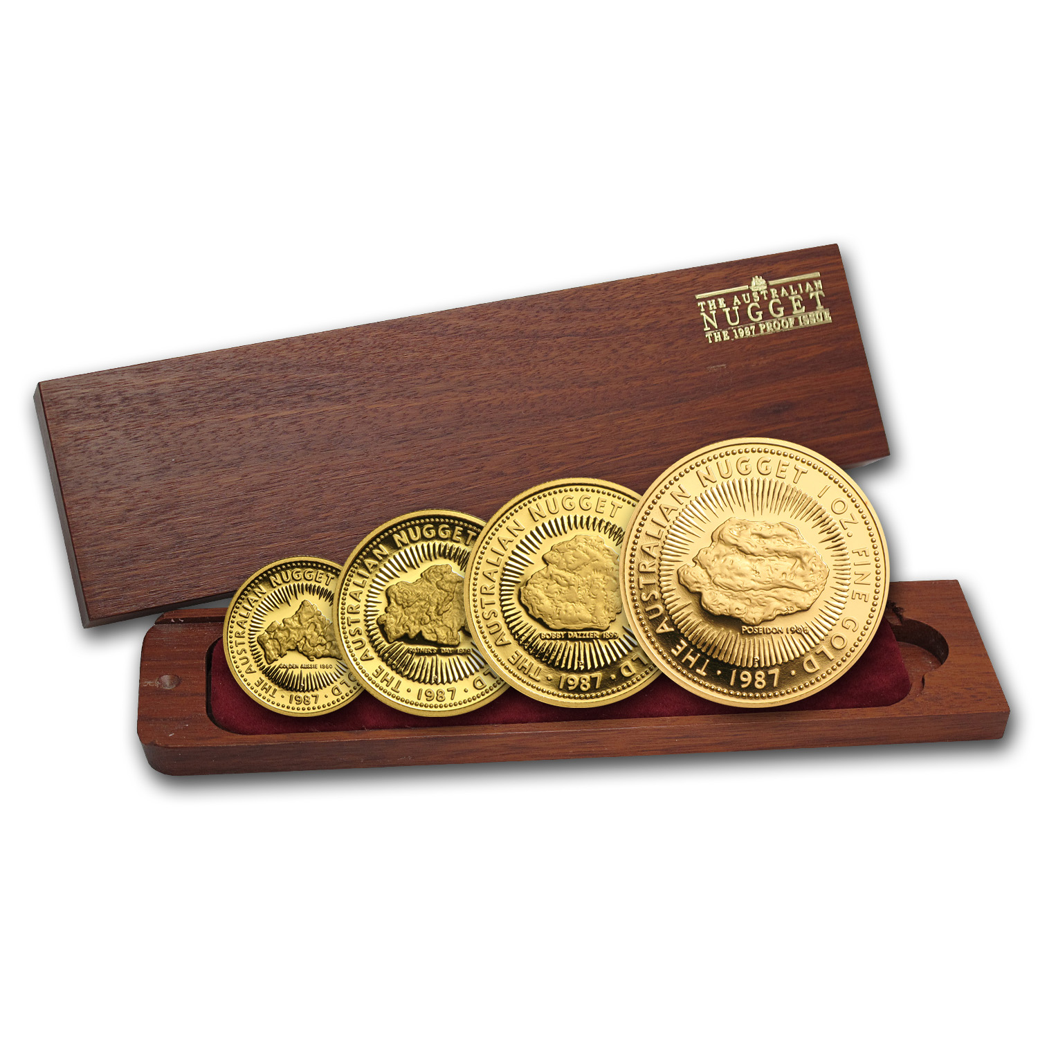 1987 Australia 4-Coin Gold Nugget Proof Set (No COA)