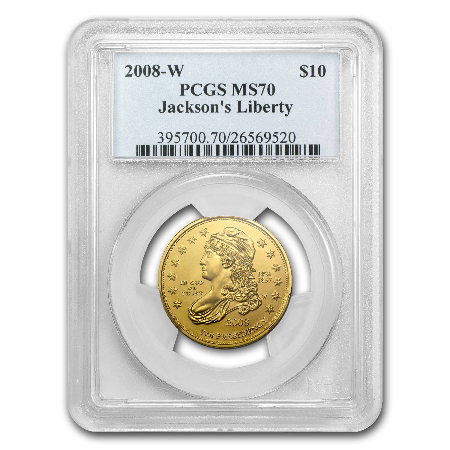 2008-W 1/2 oz Gold Jackson's Liberty MS-70 PCGS