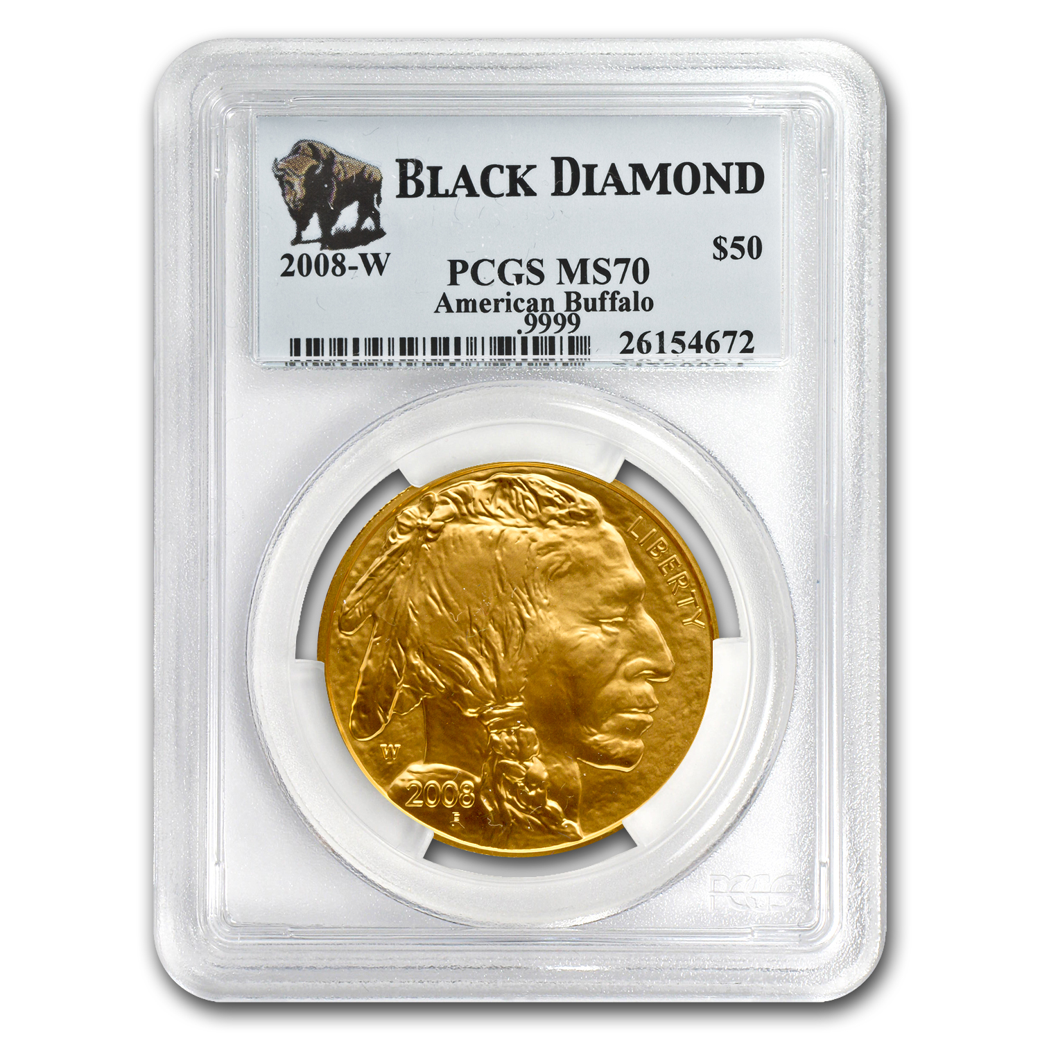 2008-W 1 oz Gold Buffalo SP/MS-70 PCGS (Black Diamond)