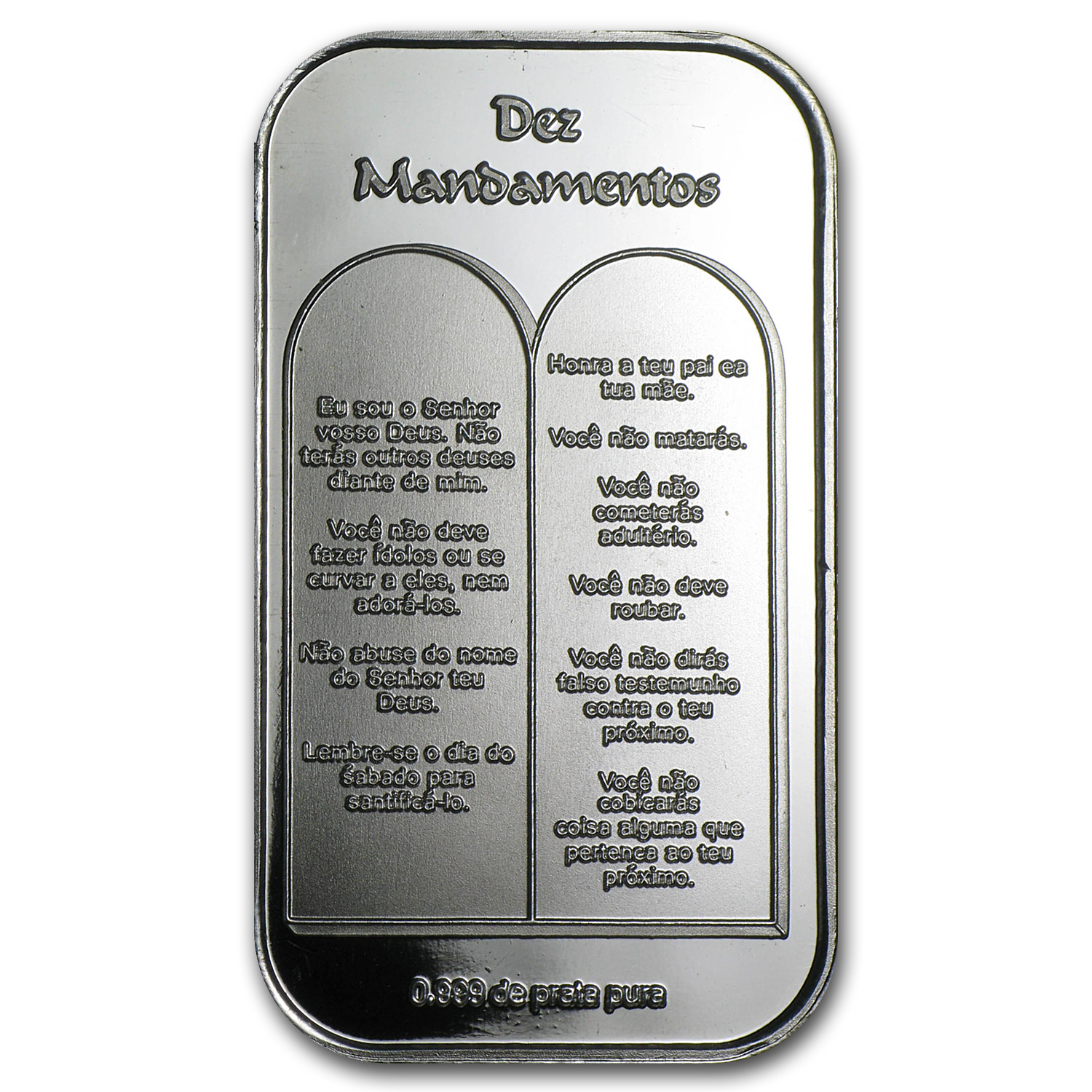 1 oz Silver Bar - Ten Commandments (Portuguese)
