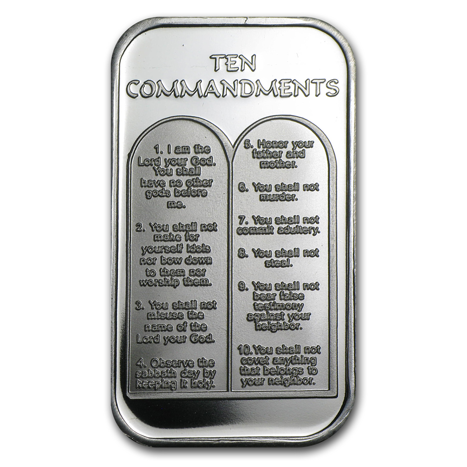 1 Oz Silver Bar Ten Commandments Portuguese 1 Oz