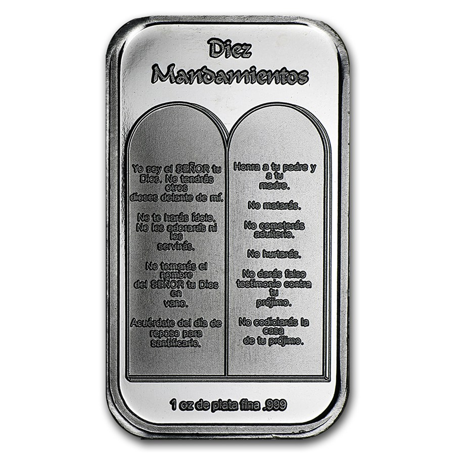 1 Oz Silver Bar Ten Commandments Spanish 1 Oz