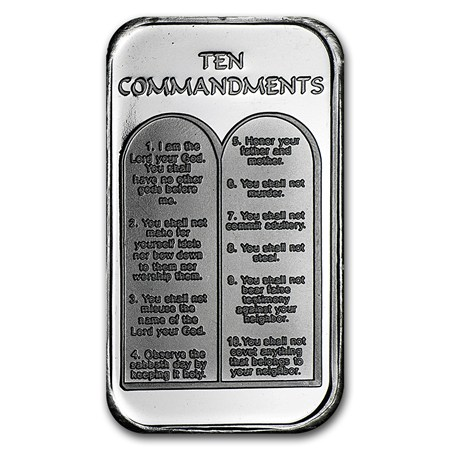 1 Oz Silver Bar Ten Commandments Spanish 1 Oz