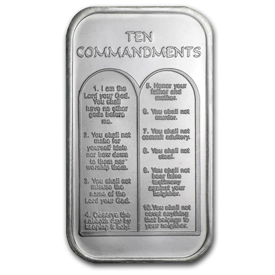1 Oz Silver Bar Ten Commandments Hebrew 1 Oz Silver