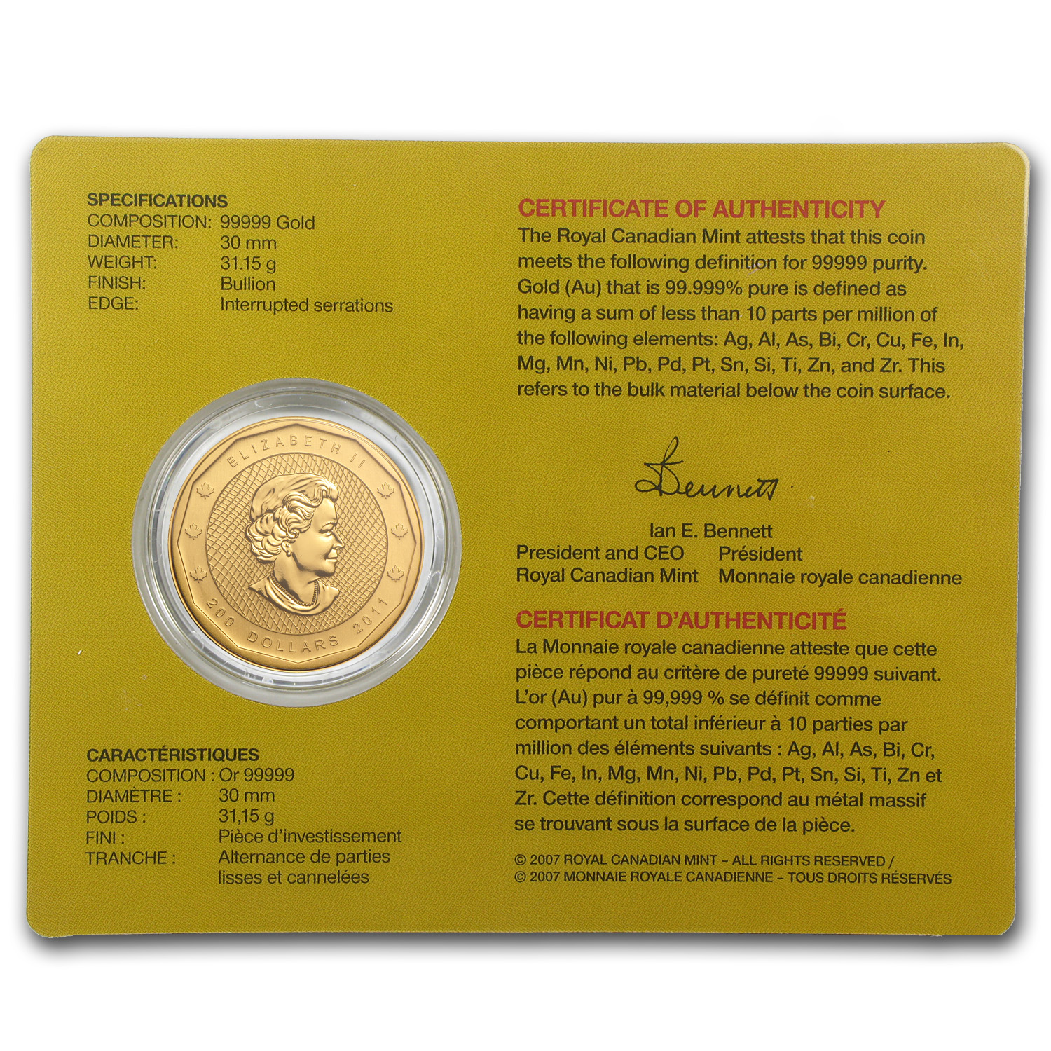 2011 1 oz Gold Canadian Mountie Maple Leaf .99999 (W/Assay Card)