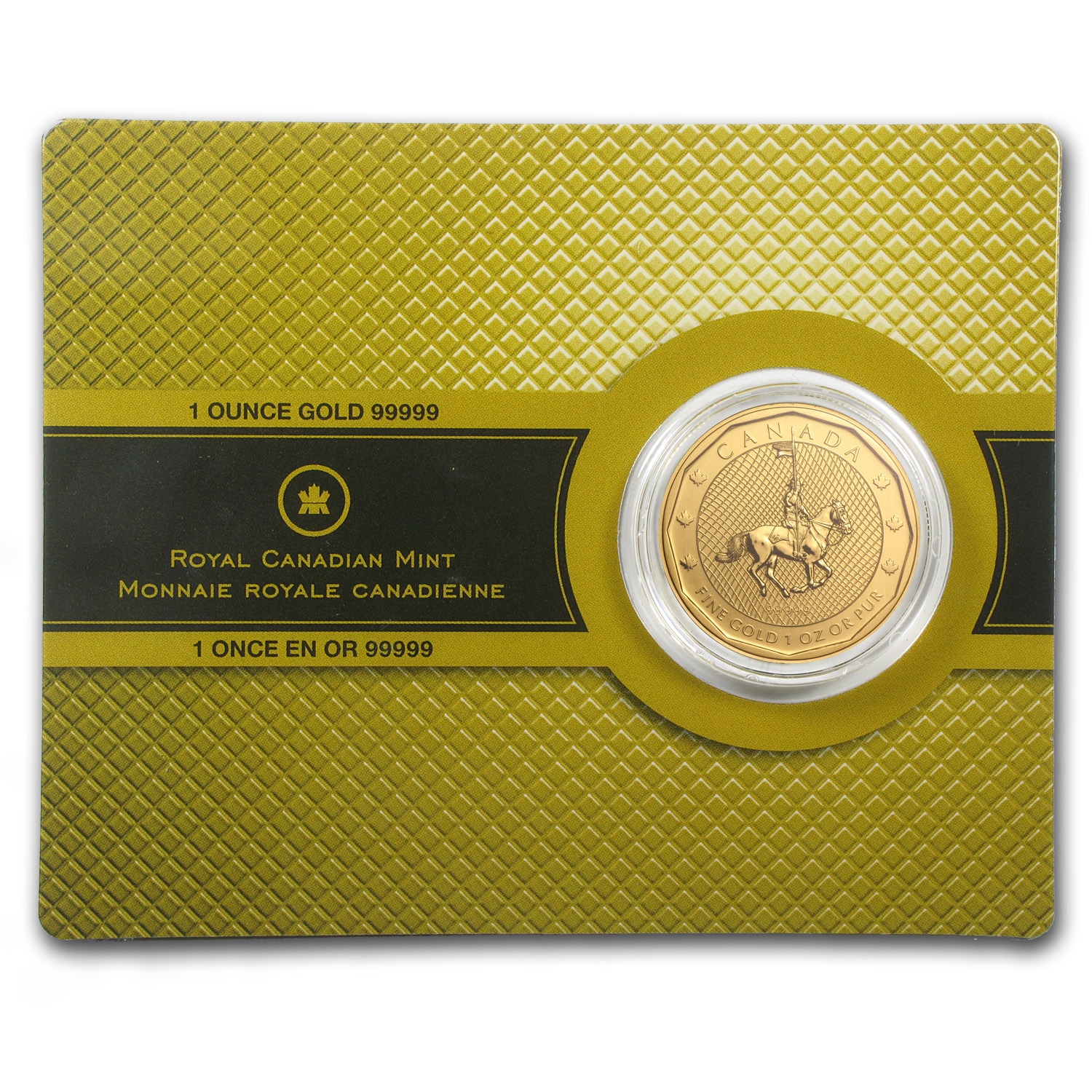 2011 1 oz Gold Canadian Mountie Maple Leaf .99999 BU (Assay Card)