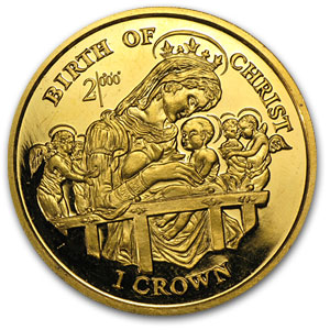 1997 Isle of Man 1 Crown Proof Gold Birth of Christ
