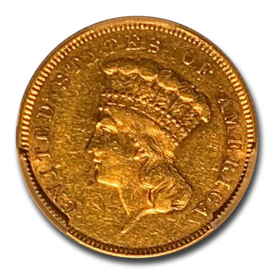 1855 $3 Gold Princess AU-50 PCGS